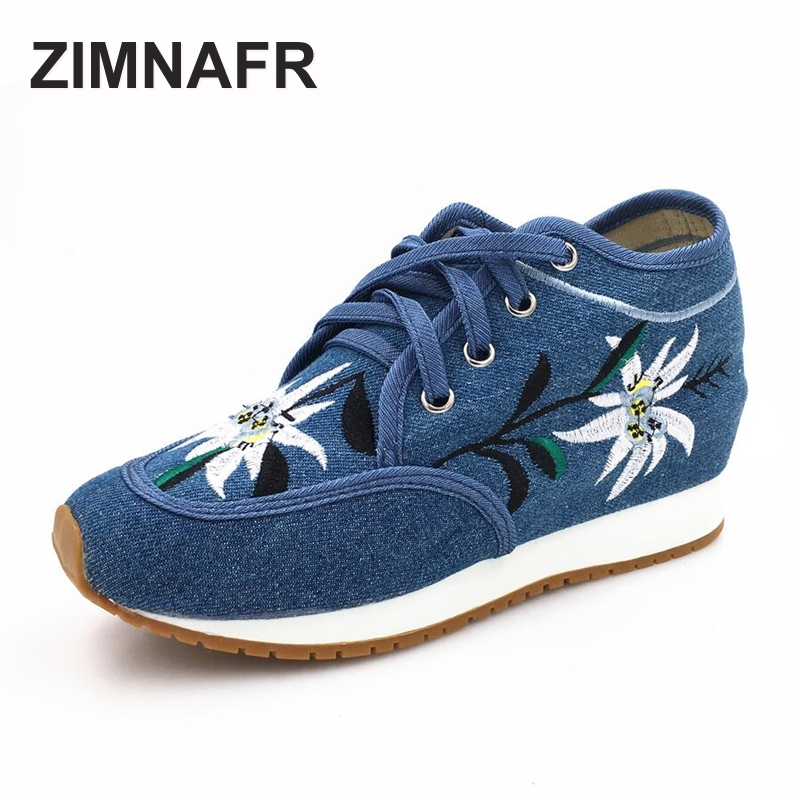 ZIMNAFR BRAND 2017 Autumn NEW WOMEN CANVAS SHOES FASHION CASUAL SHOES LACE UP embroidered shoes
