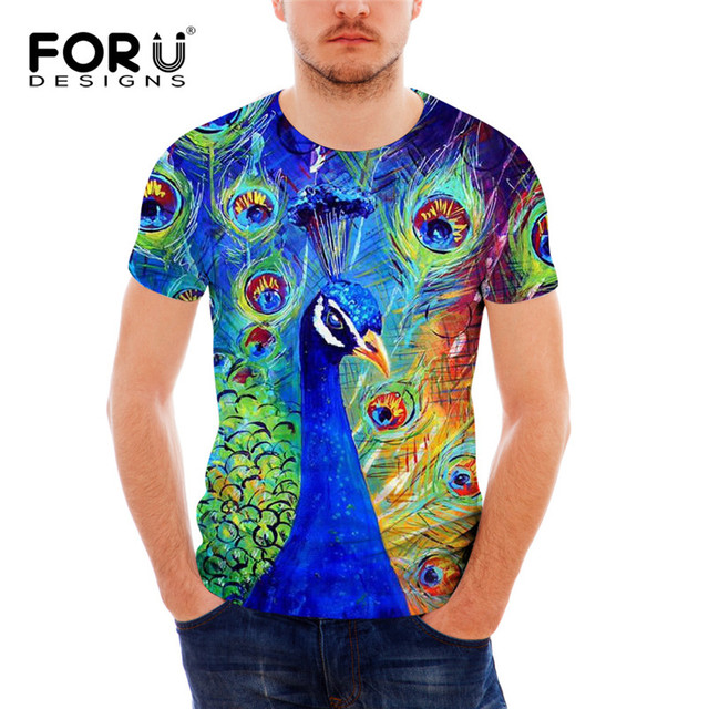 3ce03c5be FORUDESIGNS Funny Painting T Shirt for Men Summer Style Short Sleeved Male  Casual Tee Shirt 3D Animal Peacock Top Tees Crossfit
