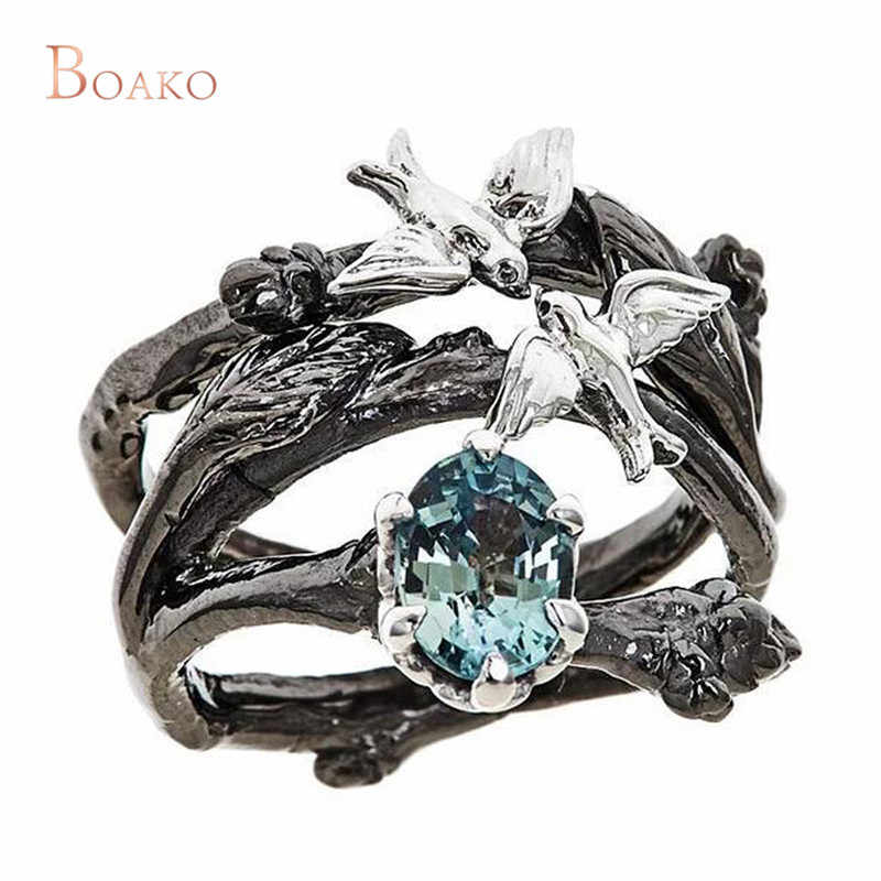 Romantic Blue Cubic Zirconia Ring  Fashion Wedding Engagement Vintage Black Color Branch with Birds Cross Jewelry For Women Z4
