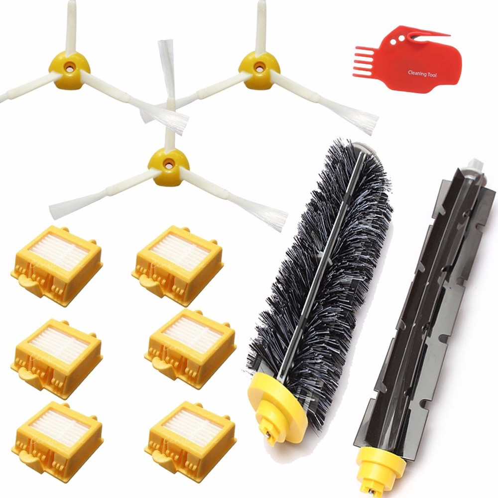 Hepa Filters Bristle Brush Flexible Beater Brush 3-Armed Side Brush Pack Set for iRobot Roomba 700 Series 760 770 780 790 14pcs free post new side brush filter 3 armed kit for irobot roomba vacuum 500 series clean tool flexible bristle beater brush