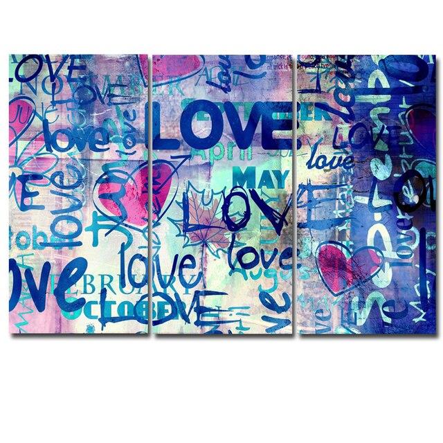 3 Panels Gedruckt Graffiti Kunst Abstrakte Liebe modulare bild große ...