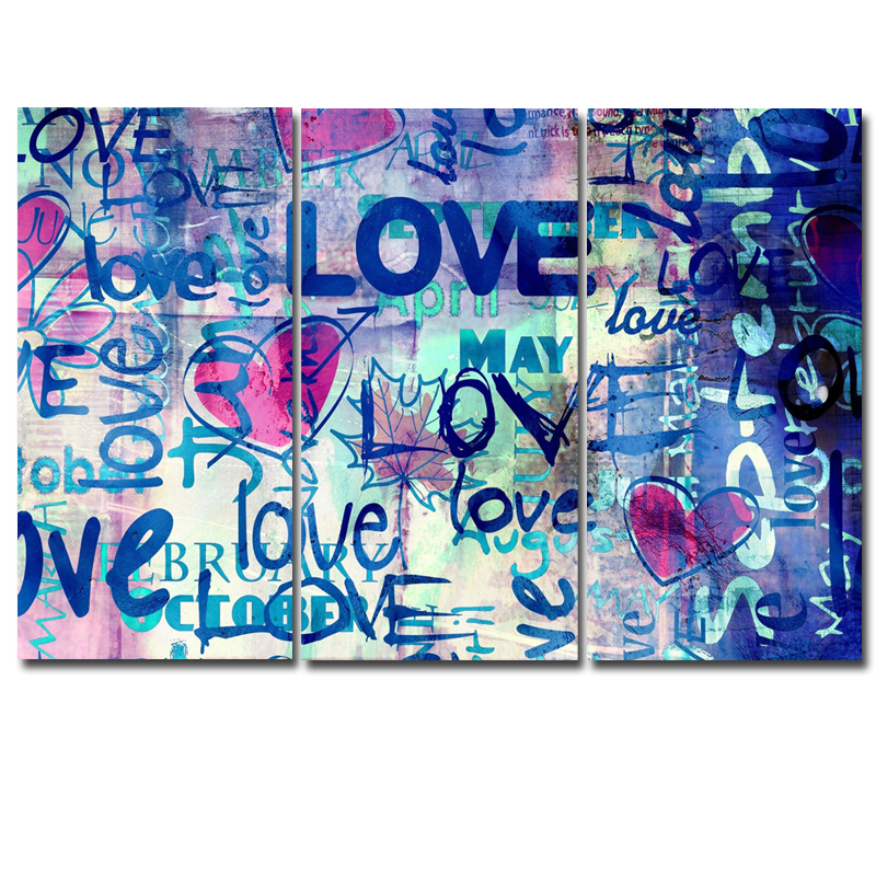 3 Panels Printed Graffiti Art Abstract Love Modular