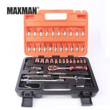 MAXMAN 46pcs/set Hand Tool Kit Socket Ratchet Torque Wrench Extension Bar Drill Bits Automobiles Repair Tools Multifunction