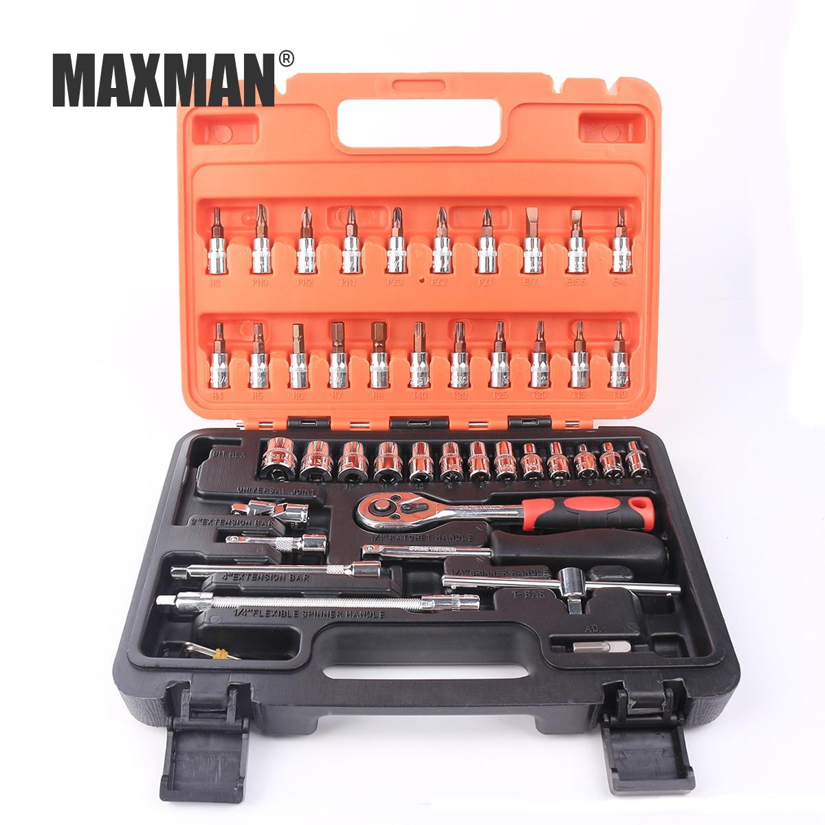 MAXMAN 46pcs/set Hand Tool Kit Socket Ratchet Torque Wrench Extension Bar Drill Bits Automobiles Repair Tools Kit Multifunction