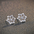 GZ 925 Silver Stud Earring Women 100% S925 Sterling Silver boucle d'oreille Flower Earrings Jewelry