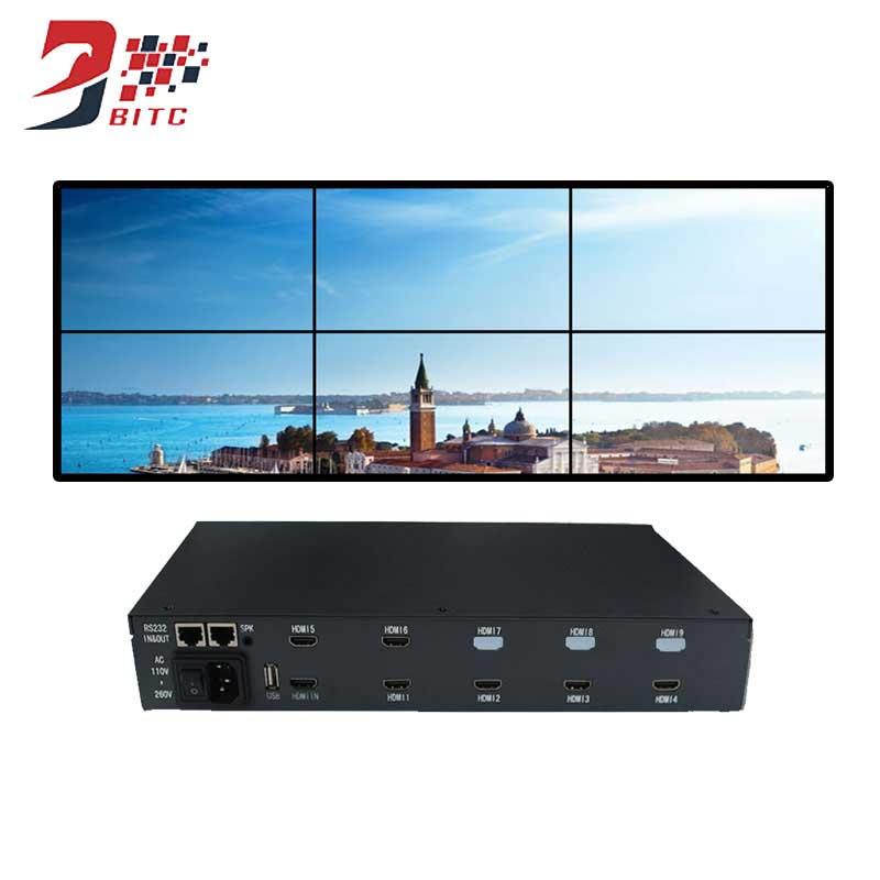 SZBITC 2x3 Video Wall Controller 6 LCD TV Splicing Processor 2x2 180 Degree Rotation HDMI In AV USB Out RS232 Control