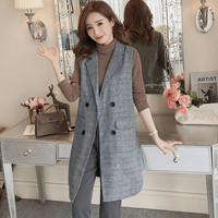 Hiawatha Blazer Feminino 2018 Korean Long Plaid Vest Blazer Women Autumn Sleeveless Double Breasted Blazers BL049