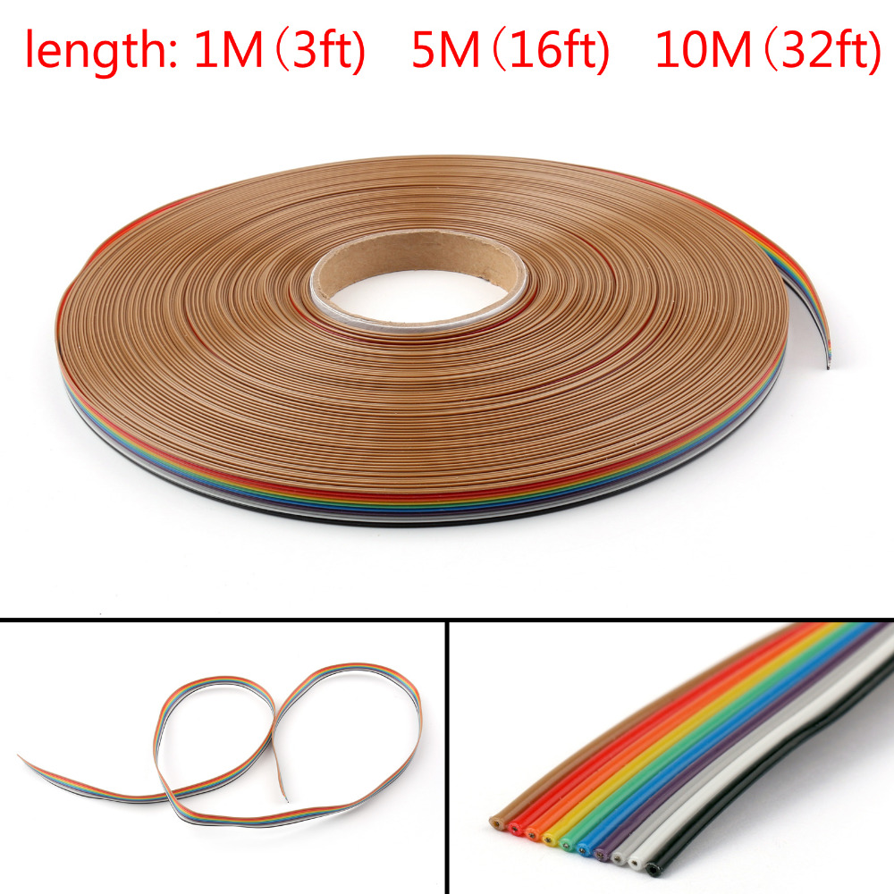 Areyourshop 10Pin Color Rainbow Ribbon Wire Cable Flat 1.27mm Spacing Pitch Max 300V 1M/5M/10M High Quality Cables Wires ...