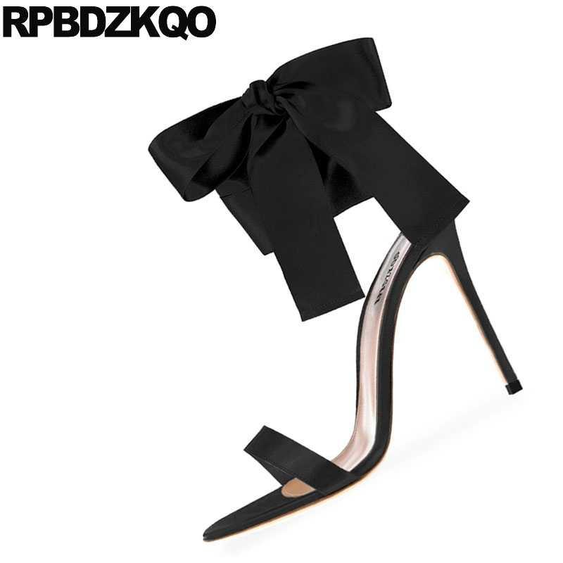 ... Ladies Women Gold Open Toe Heels Bow Sandals Black High Designer Pumps  Satin Ankle Strap Burgundy ... a7a407049f9e
