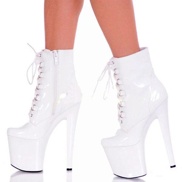Mujeres Hebilla 46 Altos Zapatos blanco Tamaño Sexy Tacones Cuero Cm Ultra Botas Negro Bombas 20 Grande Plataforma Negro WqZcg4