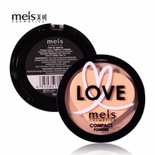 MEIS Natural Face Powder Mineral Foundation Oil-control Brighten Concealer Whitening Make Up Pressed Powder With Puff MS0165