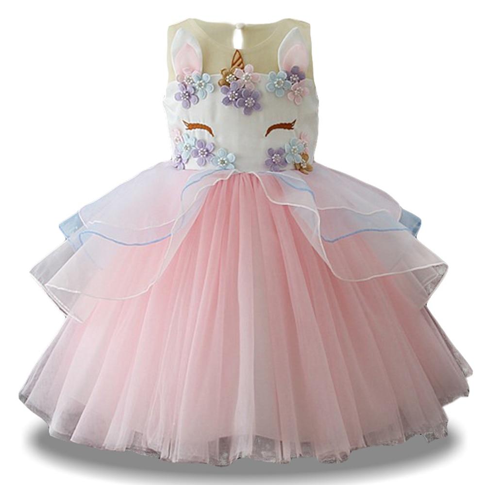 girls unicorn party dresses 2018 summer kids flower girls