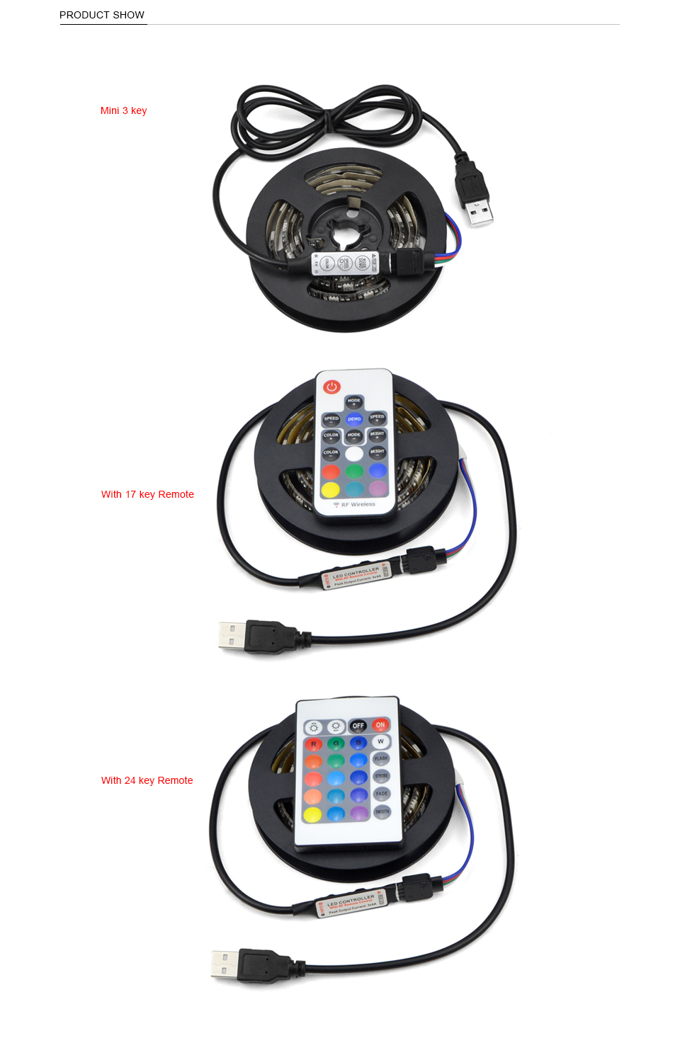 HTB12CyRc56guuRkSmLyq6AulFXaR - DC 5V 5050 SMD RGB USB LED strip Light Ribbon tape 1M 2M 3M 4M 5M USB charger LED lamp 3key 17key 24key RGB remote control