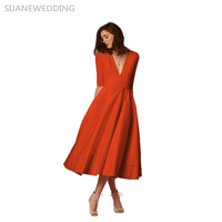 SIJANE Solid Color Summer Casual Dress Mid Calf Sleeve V Neck Sexy Dress Stylish Beach Party Dress for Women 0113
