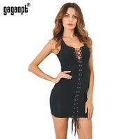 Gagaopt Summer Dresses Women Strap Beach Dress Black White Sexy Lace Up Party Dresses Vestidos Robe