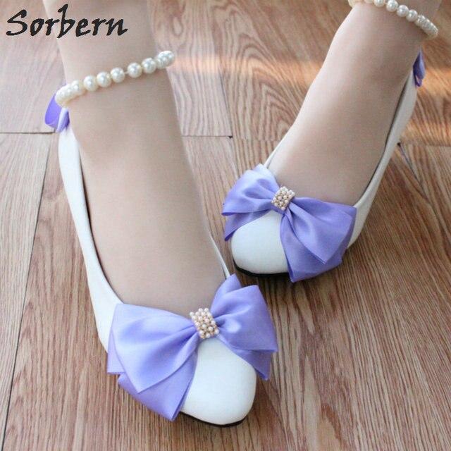 Sorbern Purple Bow Beaded Wedding Shoes Beading Straps Kitten Heels Bridal Pump 8cm 5cm