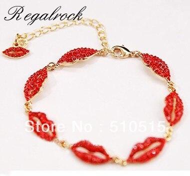 Regalrock Hot Crystal Red Lips Bracelet цена