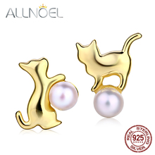 ALLNOEL Real 925 Sterling Silver Pearl Stud Earrings For Women Freshwater Pearl Lovely Cat Gold Plated S925 Wedding Fine Jewelry