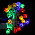 AC220V 4M 20leds Rattan Ball LED fairy light Warm White/Multicolor EU plug  for Xmas,Holiday, Party, Event Decorative Lighting