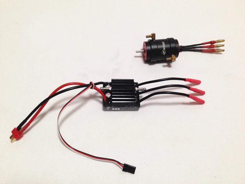 2848 Brushless Motor + Water Cooling Jacket + Hobbywing 60A Dual Direction ESC for 40-60cm RC Racing O Yacht Boat Cat Catamaran 25mm x 25mm brushless cooling fan for esc motor black