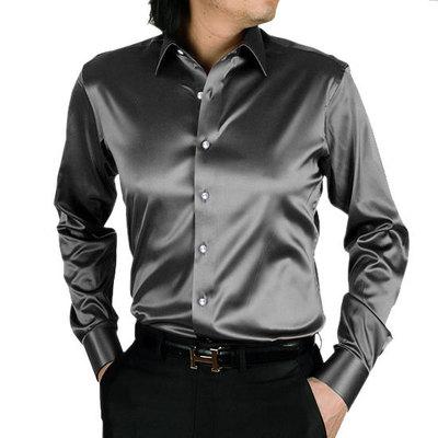 2018 Camicia da uomo in seta simulata in seta satinata disponibile - Abbigliamento da uomo
