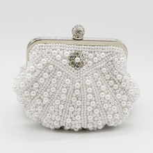 Fashion Women Evening Bags Pearl Bead Rhinestone Day Clutches Female Wedding Bridesmaid Party Banquet Handbag SMYCYX-C0036