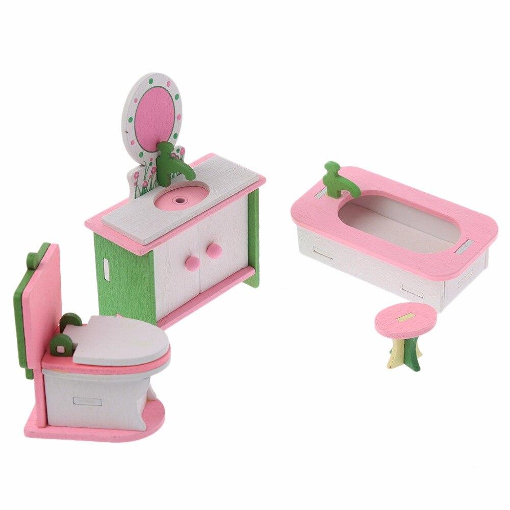 HBB Kid Wooden Furniture Dolls House Miniature Bath Bed Living Room Children Toy Gift