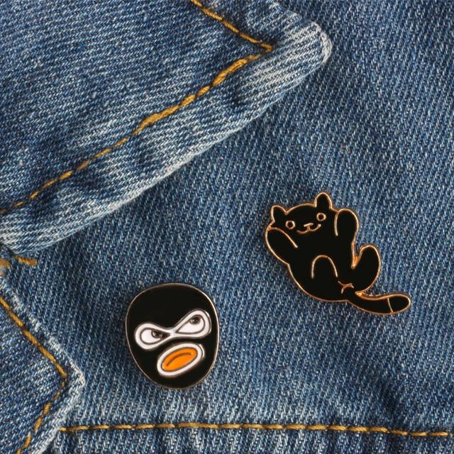 2-5 pièces ensemble animaux de bande dessinée plante broches chat alpaga oiseau fleur émail broches femmes vêtements Jeans épinglette hommes sac Badge bijoux