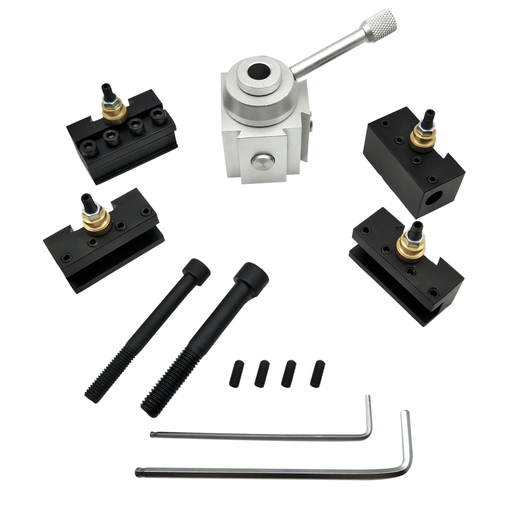 CNC Quick Change Lathe Tool Holder Post Cutter Screw Kit Boring Bar Turning Facing Holder Wrench Lathe Turning Tool Accessories
