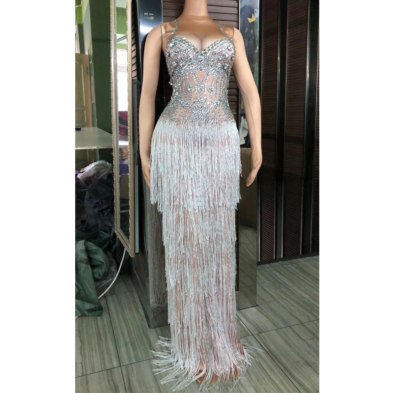 Sparkly Rhinestones Tassel Stretch Spandex Dress Nightclub Female Singer Show Clothing Ladies Celebrate Bar Dresses Suits DT381