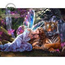 5D diamond painting butterfly fairy tiger diy paintings kits partial round diamond mosaic art cartoon diamond embroidery sale dazzle butterfly prints diamond paintings