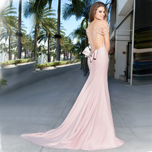Vnaix EV213 Sexy Sweetheart Sheer Tulle Cap Sleeve Crystal Short Train Mermaid Pink Evening Dress 2015