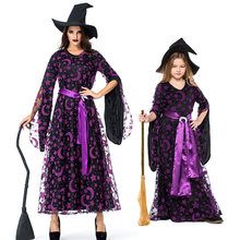 Umorden Purple Star Moon Witch Sorceress Costume Long Dress Women Kids Girls Teen Halloween Witches Costumes Cosplay for Family