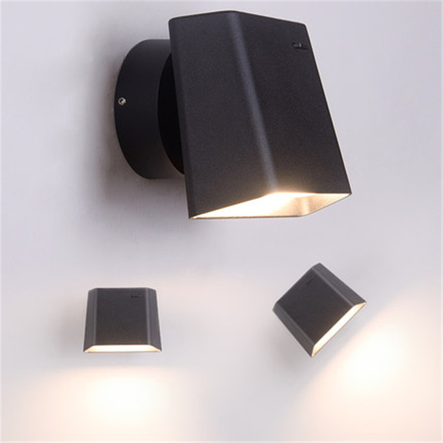 Simple Modern With Switch Read LED Wall Light Fixtures Rotating Bedside Wall Lamp Creative Black White Wall Sconce Lighting