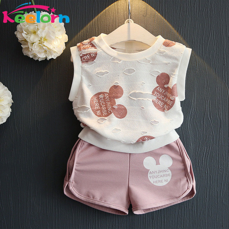 Keelorn Girls Clothing Sets 2018 Fashion Summer Kids Clothing Sets Lovely Doll Print T-shirt+Short 2Pcs for Girls Clothes 2018 kids girls clothes set baby girl summer short sleeve print t shirt hole pant leggings 2pcs outfit children clothing set