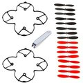 EBOYU(TM) Propeller Blades Props and Protection Guard Cover for Hubsan X4 H107C H107D Quadcopter Black / Red