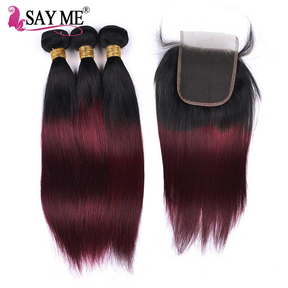 Peruvian Straight Hair Bundles With Closure Remy 2/3/4 Bundles 1B/99j Ombre Human Hair Bundles With Closure With Baby Hair SAYME