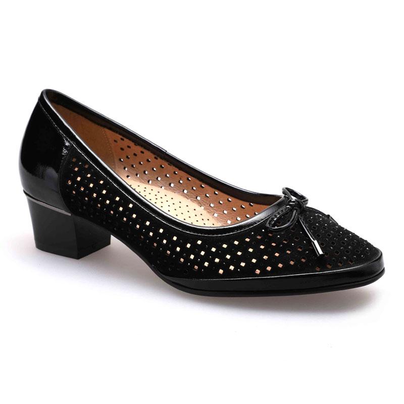 De Bomba Zapatos Mebi Punta Mujeres Redonda Outs Auténtico Negro Transpirable Gamuza Bombas Señoras Bowtie Cuero Tacones Cuadrado Med Mujer 8ga8xwZrq