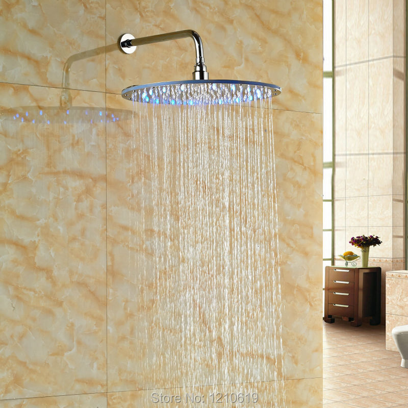 ФОТО Newly LED Lights 16 Inch Shower Head w/ Shower Arm ABS Plastic Chrome Top Shower Spray Head Wall Mounted