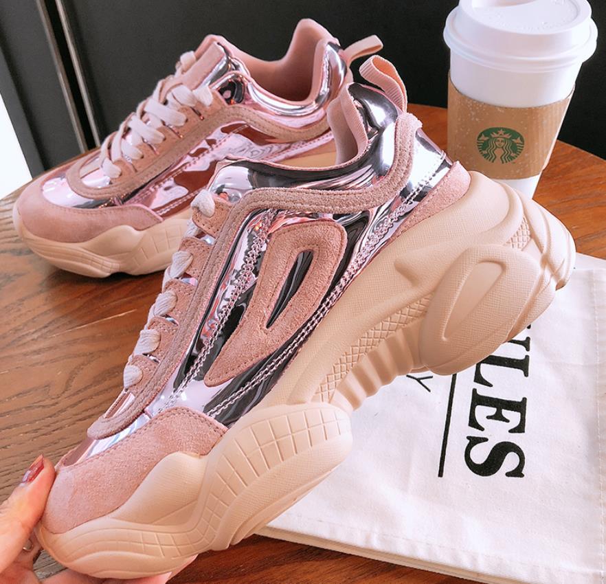 Super Y Grueso Mujer Alta Primavera Versátil Rosado Otoño 2019 caqui Zapatos Nuevo Fondo Dentro Caliente Casual De blanco BURxq8qwf