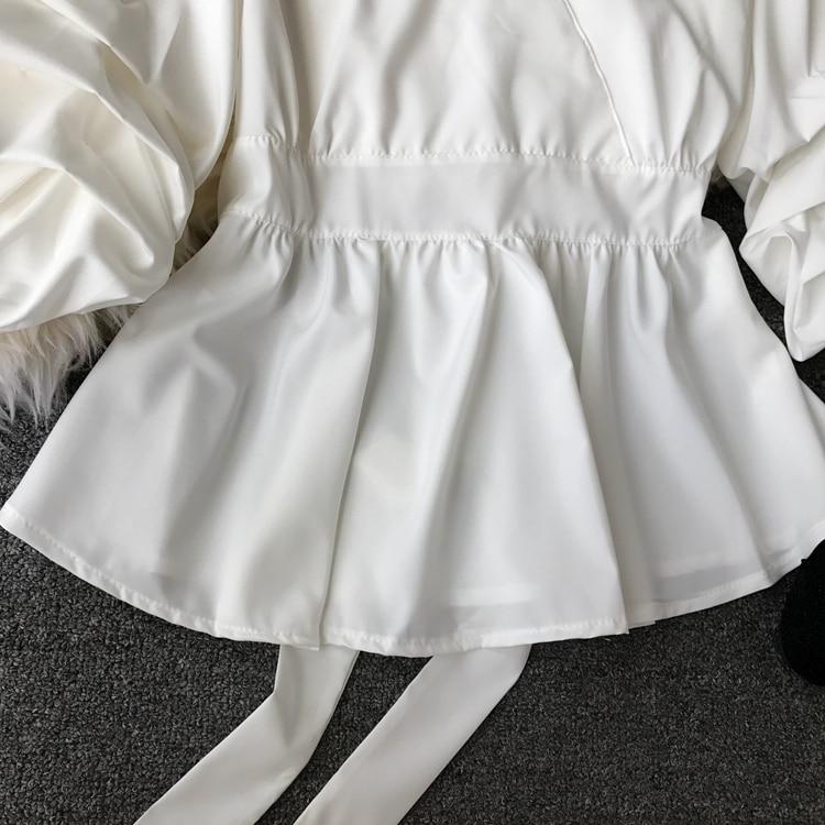 2109 Spring Women V-neck Puff Sleeves Blouse Slim Tunic Tops Retro Vintage Pullovers Busos Para Mujer Kimonos 95