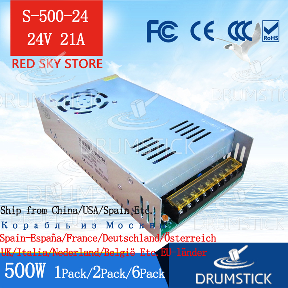 Steady 220V DC 500W power supply 24V 20A  switching power transformer S-500-24 DC Display LED light strip Monitor