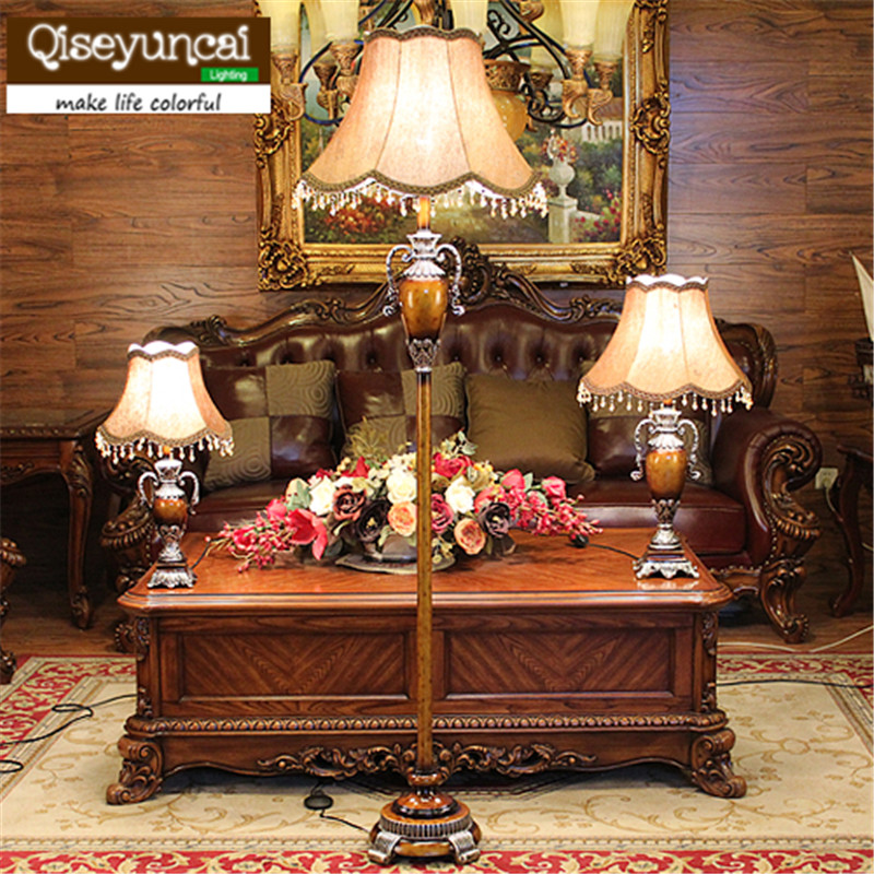 Qiseyuncai European style living room floor lamp creative fashion floor lamp simple modern bedroom study bedside floor lamp