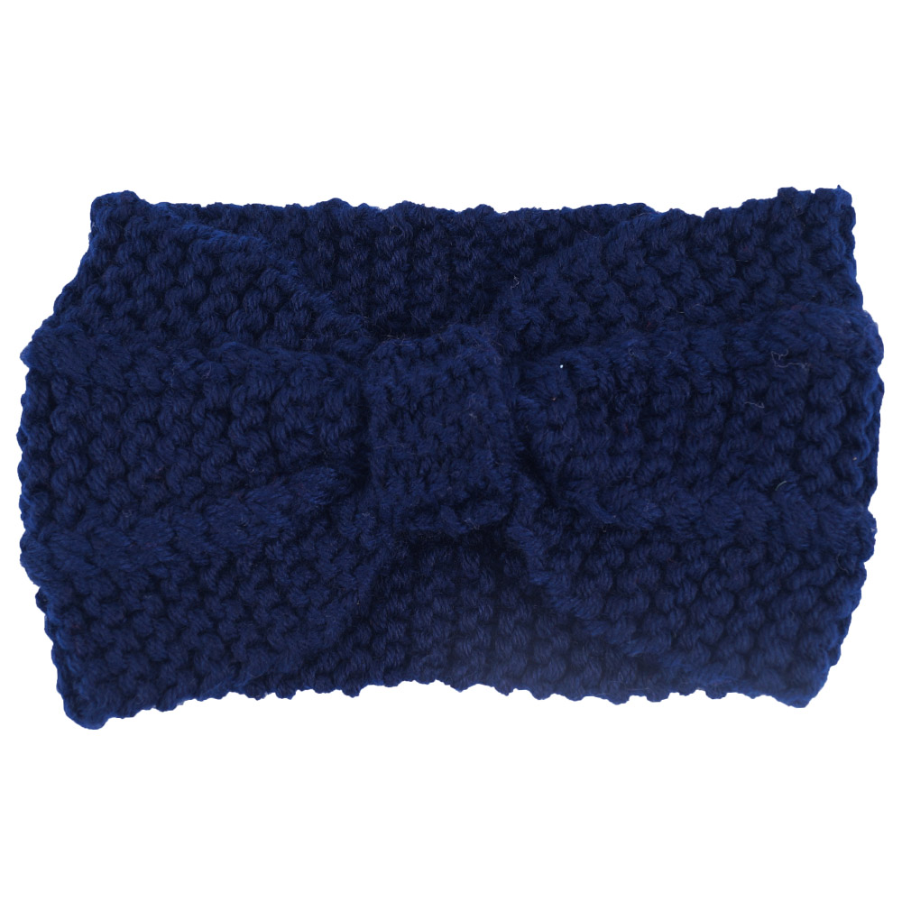 Winter Solids Wool Warm Crochet Bow Headbands