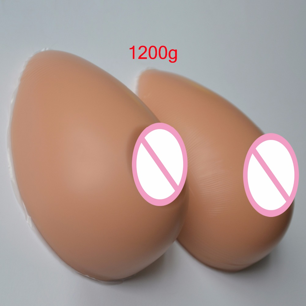 1Pair Water drop shape Realistic Artificial Silicone Breast Forms Boob Enhancer Chest Prothesis Fake Bust 1200