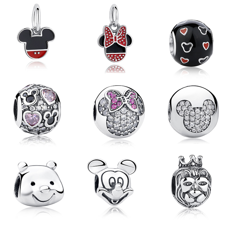 100% Authentic 925 Sterling Silver Cute Minnie Miky Charm Beads Fit pandora Bracelet Pendants DIY Original Jewelry