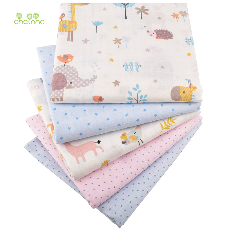 Chainho,Cartoon Series,Cotton Gauze fabric,Double Layer for DIY Sewing&Quilting Baby Bath Towel,Diapers,Bibs Material,Half Meter