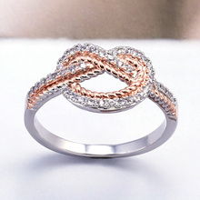 Huitan Fancy Ring Band For Women Two-Tone Anniversary Ring With Micro Paved Fashion Knot Shaped Jewelry Ring New Arrival