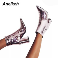 Aneikeh Women's Autumn Boots PU Leather Pointed Toe Square Heel Rubber Boots Fashion High Heel Women Shoes Silver Size 34 40
