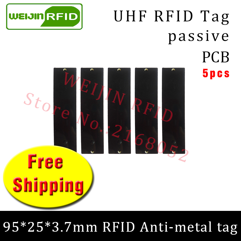 UHF RFID metal tag 915mhz 868mhz Alien Higgs3 EPC 5pcs free shipping 95*25*3.7mm long-range rectangle PCB smart passive RFID tag 1000pcs long range rfid plastic seal tag alien h3 used for waste bin management and gas jar management